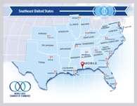Southeast USA map